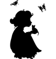 silhouette of a girl with a kitten vector image vector image