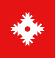 snowflake icon white color on red background vector image vector image