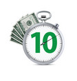 stopwatch with hundred dollars banknote speed vector image vector image