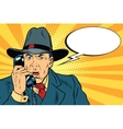 Surprised retro businessman talking on the phone vector image vector image