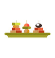 tasty canape sandwishes on green plate isolated vector image vector image