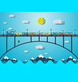 train on bridge over sea or river vector image vector image