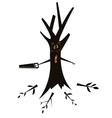 Tree using a hacksaw vector image vector image