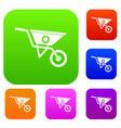 wheelbarrow set collection vector image vector image