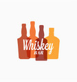 whiskey bottle logo color banner on white vector image