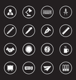 white simple flat icon set 8 with circle frame vector image