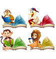 Wild animals reading books vector image