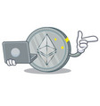 with laptop ethereum coin character cartoon vector image