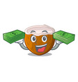 with money cartoon beverage coconuts on the beach vector image vector image