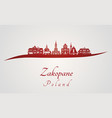zakopane skyline in red vector image vector image