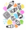Hand drawn sweets doodle elements set with candies vector image