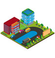 3d design for buildings and cars on the road vector image vector image