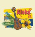 aloha hawaii ukulele in vintage style vector image vector image