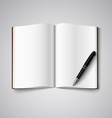 Blank diary were pages and pen vector image vector image