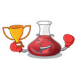 boxing winner red wine decanter isolated on mascot vector image