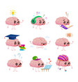 brains character read books listen music ride vector image