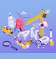 brand building isometric background vector image