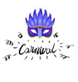 carnival hand drawn lettering and mask for brasil vector image vector image