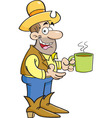 Cartoon cowboy with cup of coffee vector image vector image