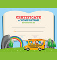 certificate template with kids on school bus vector image vector image