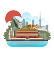 china travel with architecture traditional vector image