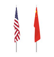 chinese and usa flag on stand stick isolated on vector image