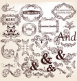 collection decorative elements in vintage style vector image vector image