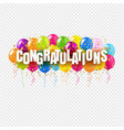 congratulations card and colorful balloons vector image vector image
