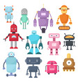 cute cartoon robots android and spaceman cyborg vector image