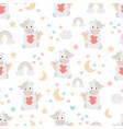 cute pastel unicorn with red heart seamless vector image