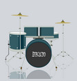 drum set kits and reflection on ground with grey vector image