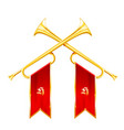 fanfare - two vintage crossed trumpets triumph vector image vector image