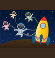 four astronaunts flying in space vector image vector image