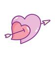 happy valentines day hearts pierced arrow love vector image vector image