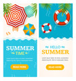 hello summer time banner vecrtical set vector image