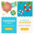 hello summer time banner vertical set vector image