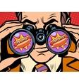 hungry man wants a hot dog vector image vector image