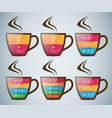 infographics cup of hot tea with smoke vector image