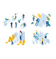 isometric set concept working documents signing vector image