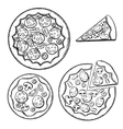 Italian pizza sketches with different topping vector image vector image