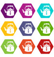 kettle old icons set 9 vector image vector image