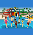 kids playing in a waterpark vector image