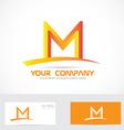 Letter M orange 3d logo vector image vector image
