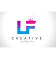 lf l f letter logo with shattered broken blue vector image vector image