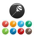 lollipop sweet icons set color vector image vector image