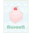 Lovely cake - Vintage Card Design vector image