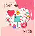 lovely greeting card with love icons vector image vector image