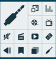multimedia icons set with begin bookmark enlarge vector image