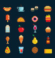 pixelart fast food icons sign computer game vector image
