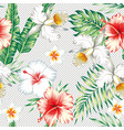 plumeria hibiscus flowers green leaves seamless vector image vector image